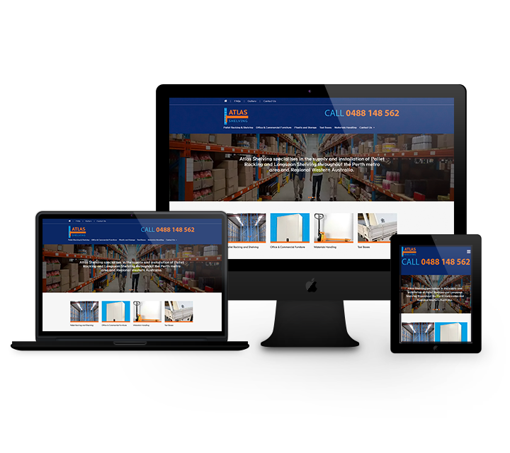 Atlas Shelving Website | Clients of Clearun Marketing