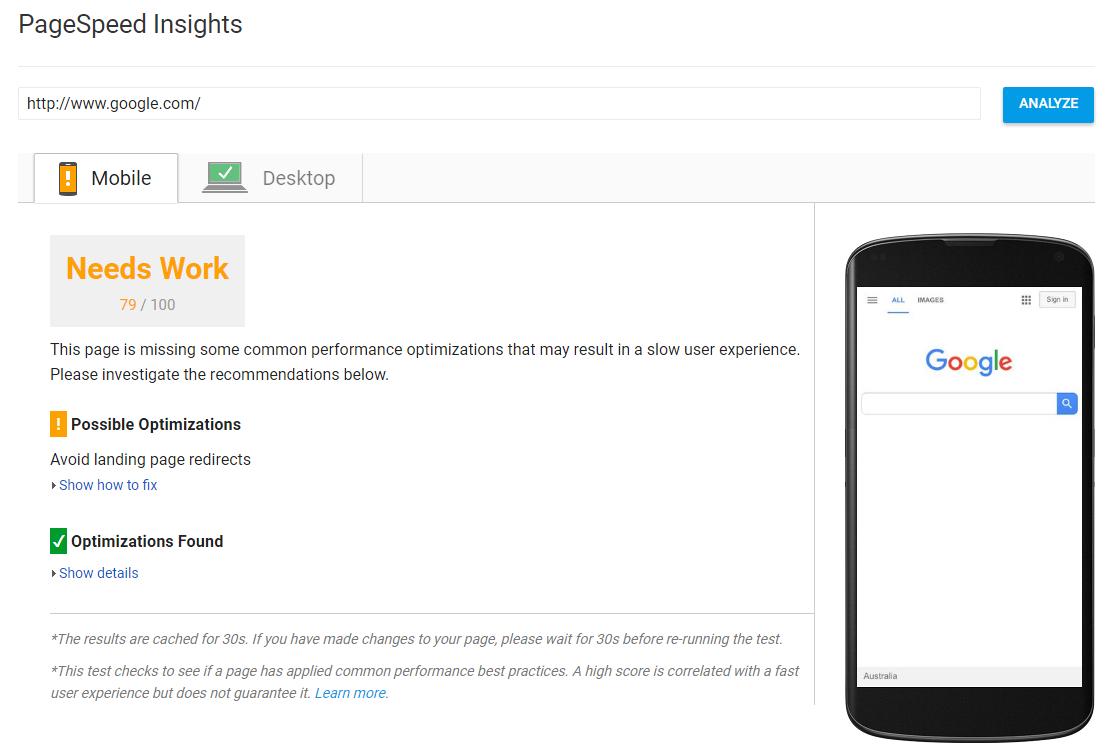 Google PageSpeed Tools Insights